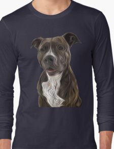 Pit Bull Terrier Oil Painting Style Long Sleeve T-Shirt