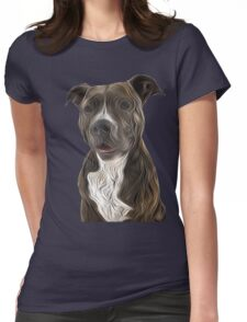 Pit Bull Terrier Oil Painting Style Womens Fitted T-Shirt