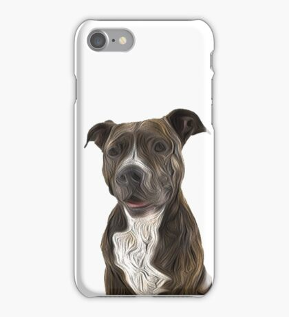 Pit Bull Terrier Oil Painting Style White Background iPhone Case/Skin