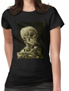 Vincent Van Gogh smoking skeleton Womens Fitted T-Shirt