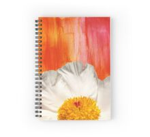 Krinkle White Peony On Red Orange Background Spiral Notebook