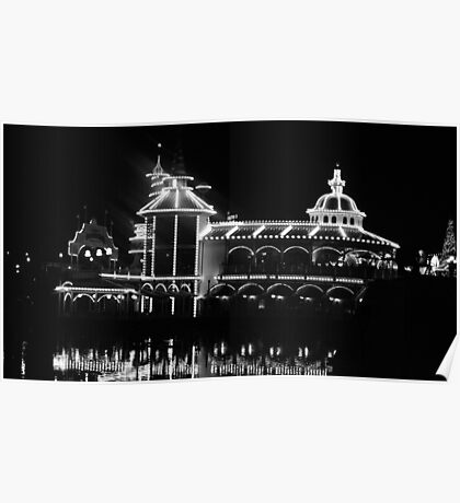 The Grotto - Black & White at Night Poster