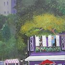 Colorful Purple cafe acrylic painting by Melissa Goza