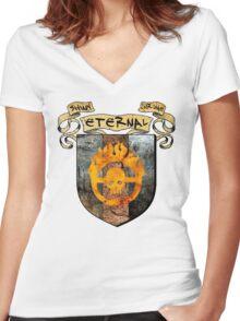 SHINY. ETERNAL. CHROME. Women's Fitted V-Neck T-Shirt