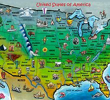 USA Cartoon Map Postcard by Kevin Middleton