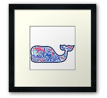 Vineyard Vines Whale w/ Lilly Pulitzer shells beach pattern she she shells Framed Print