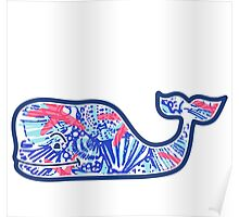 Vineyard Vines Whale w/ Lilly Pulitzer shells beach pattern she she shells Poster
