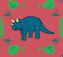 Triceratops Dinosaur pattern by Edwin Burrow