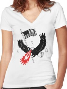 FIRE BREATHING BALD EAGLE OF PATRIOTISM Women's Fitted V-Neck T-Shirt