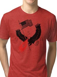 FIRE BREATHING BALD EAGLE OF PATRIOTISM Tri-blend T-Shirt