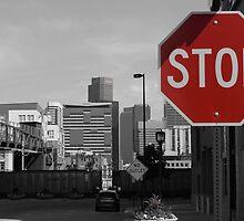 Denver Cityscape Stop Sign by Jackson Killion
