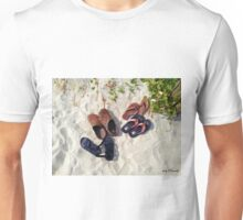 Sandals and Flip Flops on The Sand Unisex T-Shirt