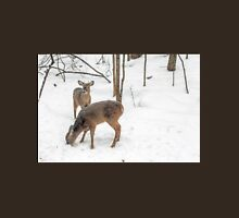 Young Spike Buck and Doe Whitetail Deer In Snowy Woods Unisex T-Shirt