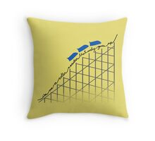 I'm On a Roller Coaster That Only Goes Up (Blue Cars) Throw Pillow