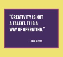 Creativity is not a talent. It is a way of operating Kids Tee