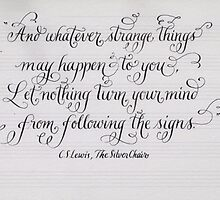 CS lewis calligraphy art print by Melissa Goza