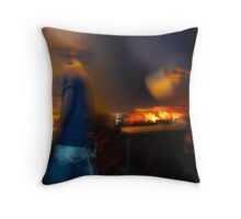 Grilling Fish in Northern Bali Throw Pillow