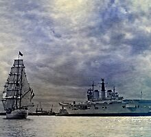 Tall Ship Europa & HMS Invincible - River Tyne by David Lewins