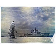 Tall Ship Europa & HMS Invincible - River Tyne Poster
