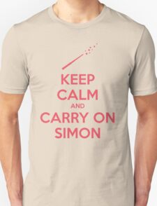 Keep Calm and Carry On Simon (Pink Text) T-Shirt