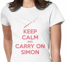 Keep Calm and Carry On Simon (Pink Text) Womens Fitted T-Shirt