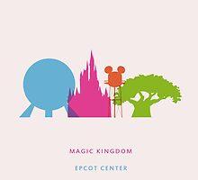 Walt Disney World Travel Poster by Lunamis