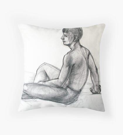 sitting man figure Throw Pillow