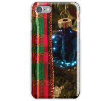 Christmas Blue Ball Ornament With Ribbon iPhone Case/Skin