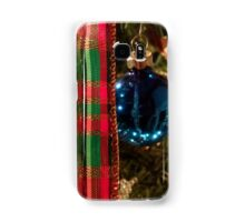 Christmas Blue Ball Ornament With Ribbon Samsung Galaxy Case/Skin