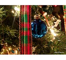 Christmas Blue Ball Ornament With Ribbon Photographic Print