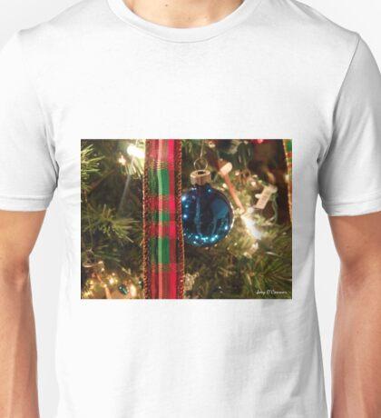 Christmas Blue Ball Ornament With Ribbon Unisex T-Shirt