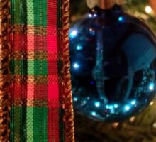 Christmas Blue Ball Ornament With Ribbon Sticker