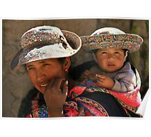 WOMAN AND CHILD FROM COLCA / PERU Poster