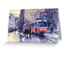 Prague Tram 02 Greeting Card