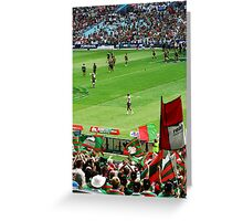 Rabbitohs supporters and team at opening game. Greeting Card