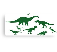 Green Dinosaur Pattern Canvas Print