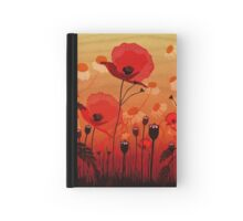 Poppies on woodgrain Hardcover Journal