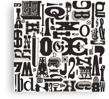 Wood Type Collage Canvas Print