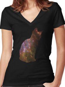 Kitten Space Women's Fitted V-Neck T-Shirt