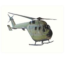 Helicopter Indian Air Force Naive Painting Art Print
