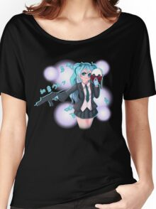Hatsune Wolf - Black Women's Relaxed Fit T-Shirt