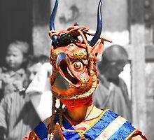 Masked Monk #3, Tashiling Festival, Eastern Himalaya, Central Bhutan  by Carole-Anne