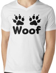Woof Dog Paws Mens V-Neck T-Shirt