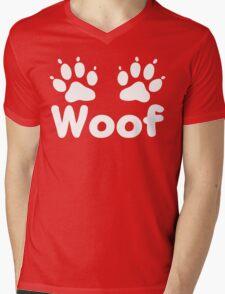 Woof Dog Paws (Dark) Mens V-Neck T-Shirt