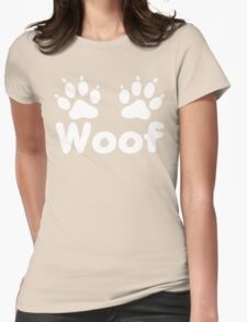 Woof Dog Paws (Dark) Womens Fitted T-Shirt