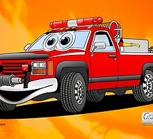 Pick Up Fire Truck Fire Background Cartoon by Graphxpro