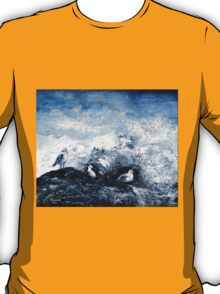 Seagulls on the rocks T-Shirt