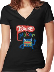 Trouble Maker - dark Women's Fitted V-Neck T-Shirt