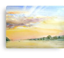 sunset on a bay Canvas Print