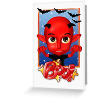 Halloween Card With Cute Little Devil - BOO Greeting Card
